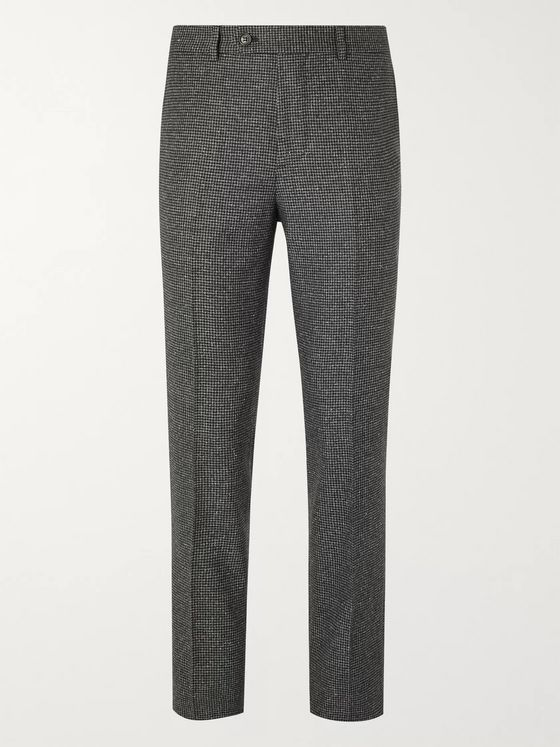 Brunello Cucinelli Slim-Fit Houndstooth Wool and Silk-Blend Suit Trousers