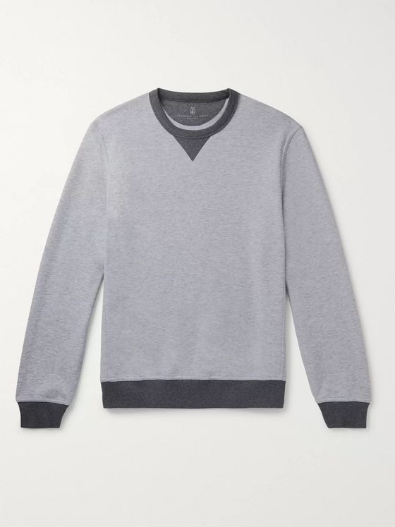 Brunello Cucinelli Contrast-Tipped Mélange Cotton-Blend Jersey Sweatshirt