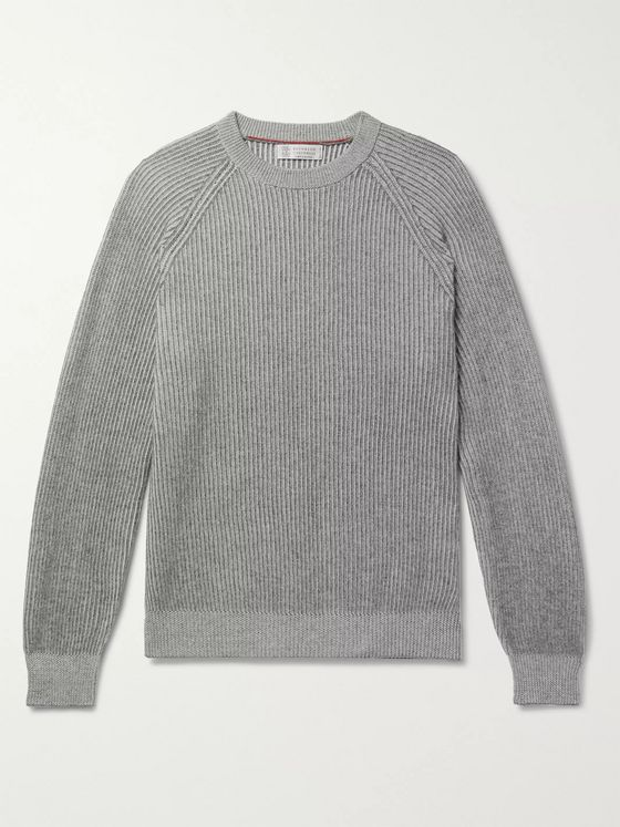 Brunello Cucinelli Striped Ribbed Cashmere Sweater
