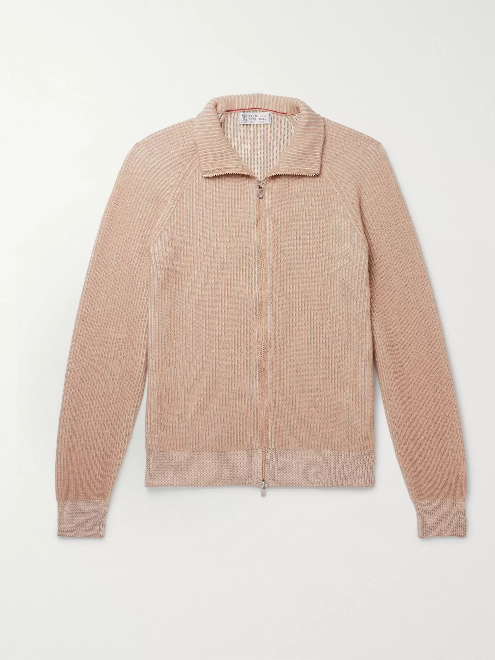 Brunello Cucinelli Ribbed Mélange Cashmere Zip-Up Sweater