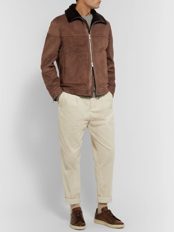 Brunello Cucinelli Shearling-Lined Perforated-Suede Jacket