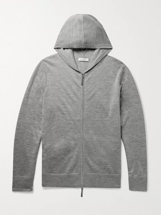 Gabriela Hearst Jean Paul Mélange Cashmere and Silk-Blend Zip-Up Hoodie
