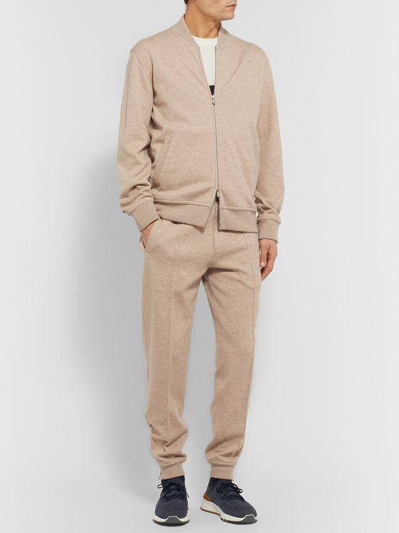 BRUNELLO CUCINELLI Mélange Cashmere and Cotton-Blend Zip-Up Sweatshirt