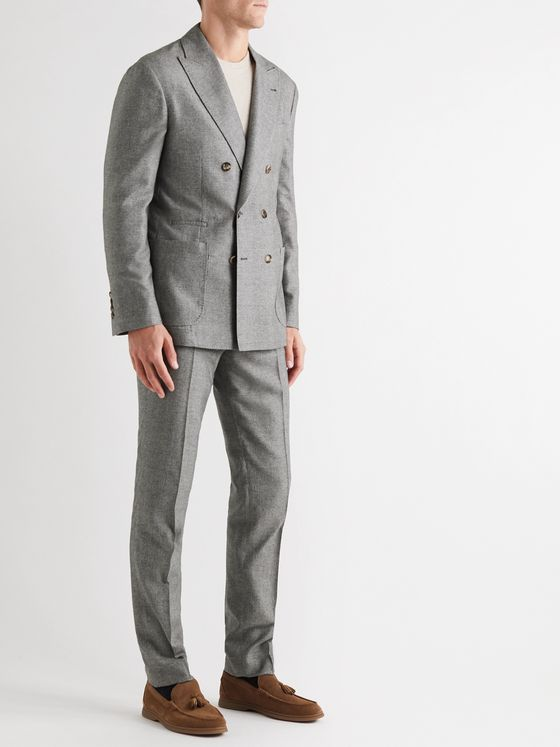 Brunello Cucinelli Tapered Prince of Wales Checked Cashmere and Silk-Blend Suit Trousers