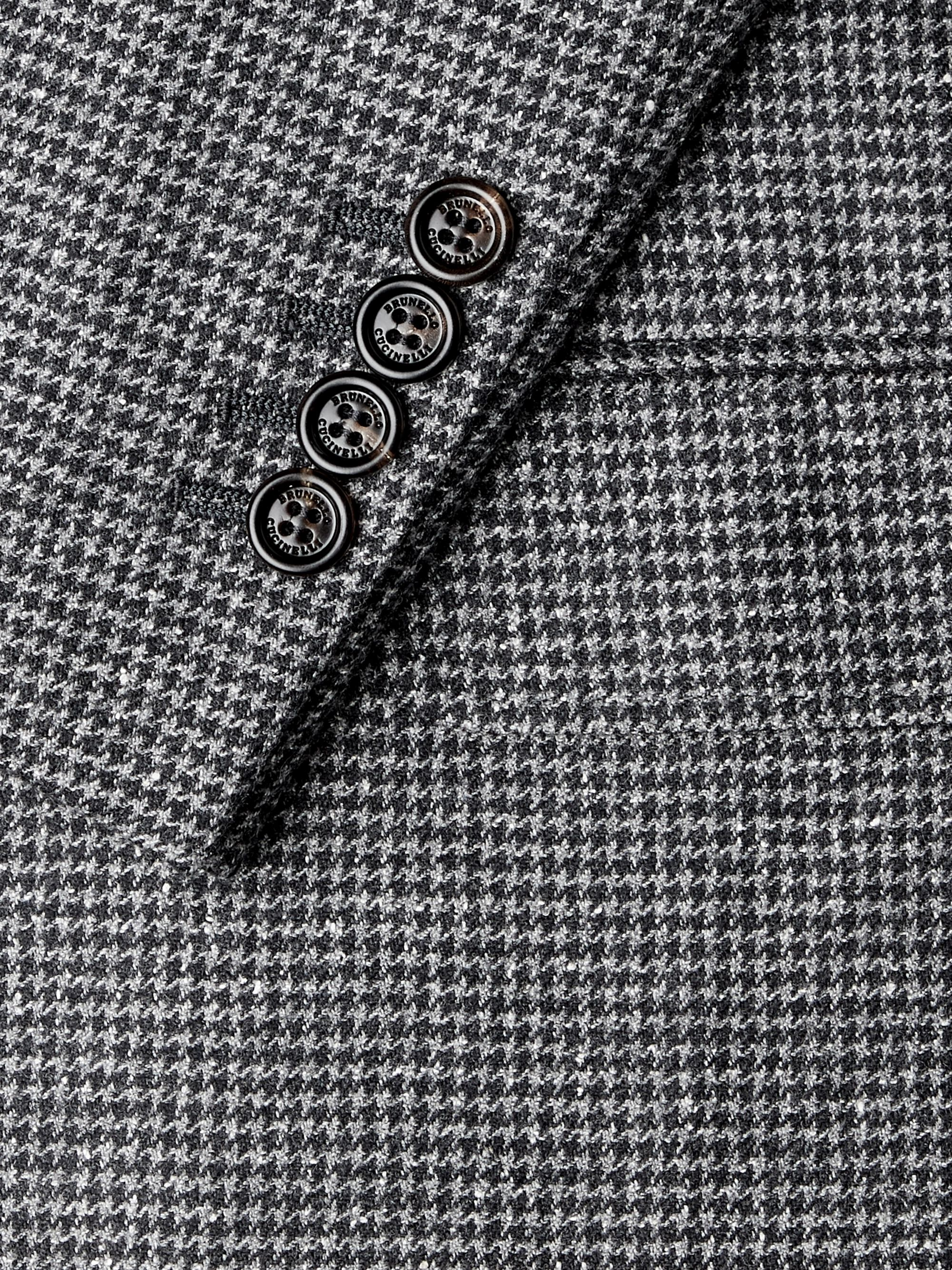 Brunello Cucinelli Houndstooth Wool and Silk-Blend Suit Jacket