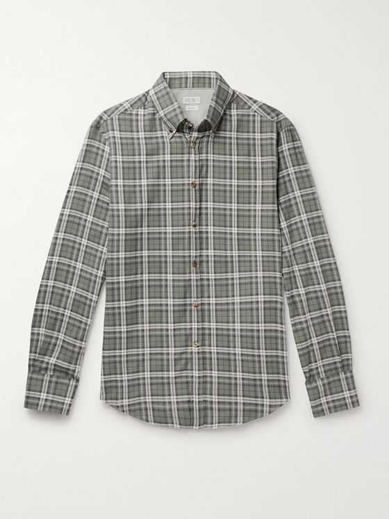 Brunello Cucinelli Button-Down Collar Checked Cotton-Twill Shirt