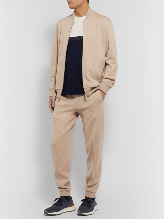 BRUNELLO CUCINELLI Slim-Fit Mélange Cashmere and Cotton-Blend Drawstring Sweatpants