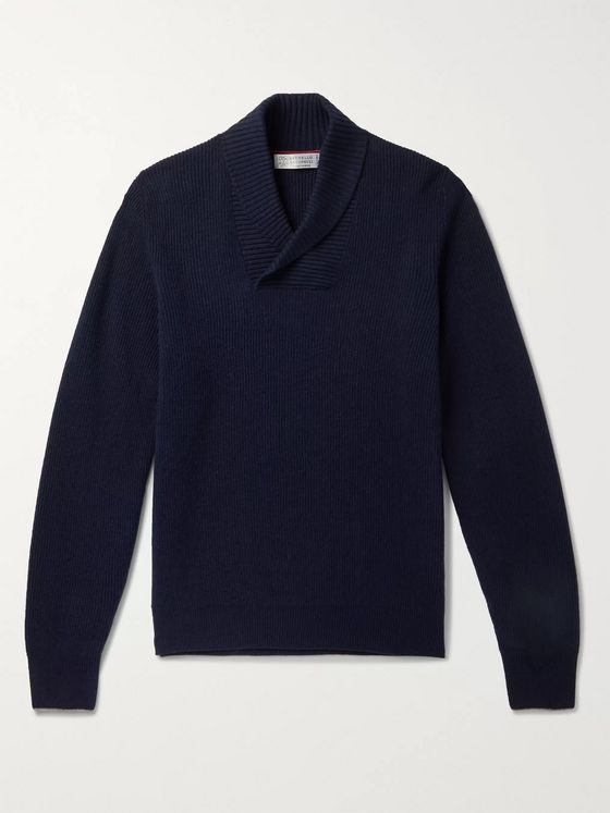 Brunello Cucinelli Shawl-Collar Ribbed Virgin Wool, Cashmere and Silk-Blend Sweater