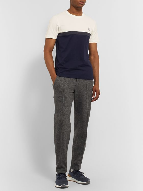 Brunello Cucinelli Slim-Fit Cotton-Jersey and Piqué T-Shirt