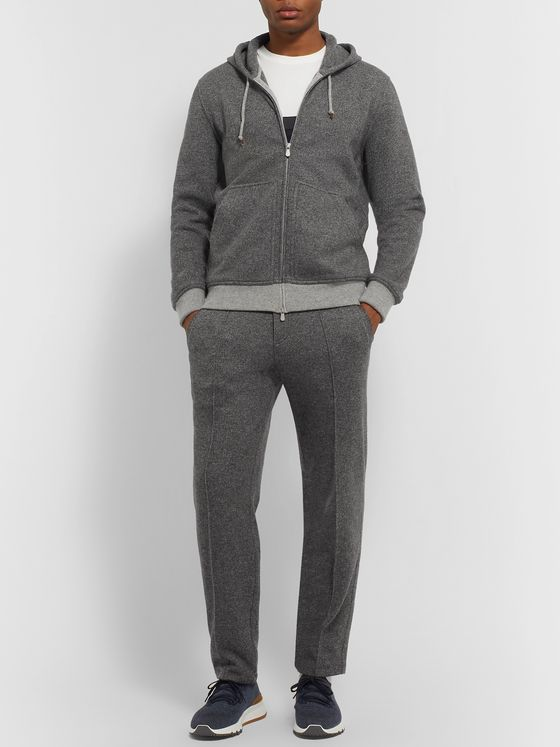 Brunello Cucinelli Cashmere and Wool-Blend Zip-Up Hoodie