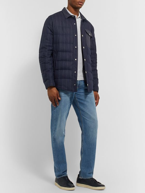 Brunello Cucinelli Shell-Trimmed Pinstriped Quilted Wool Down Jacket