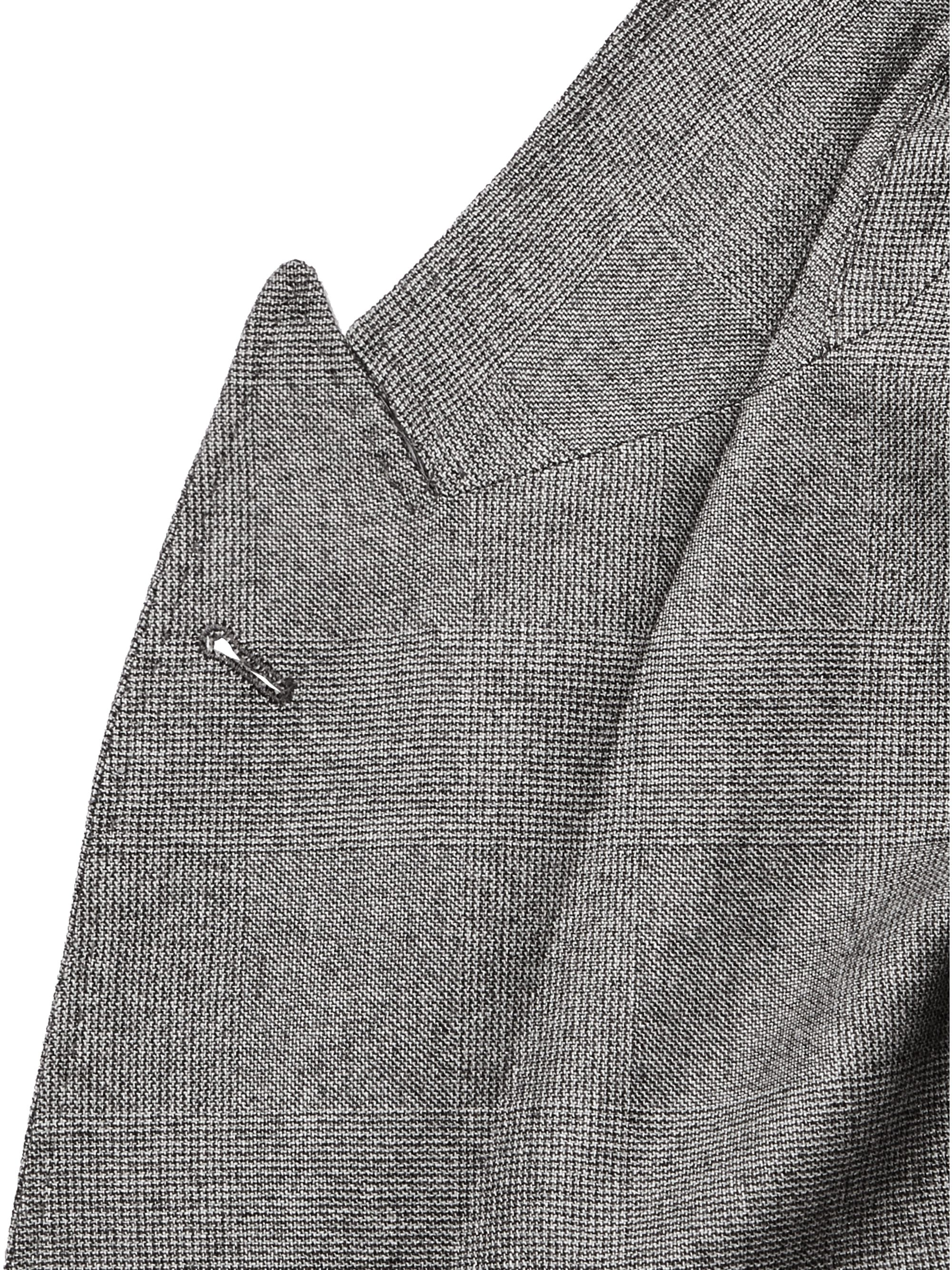 Brunello Cucinelli Unstructured Double-Breasted Prince of Wales Checked Cashmere and Silk-Blend Suit Jacket