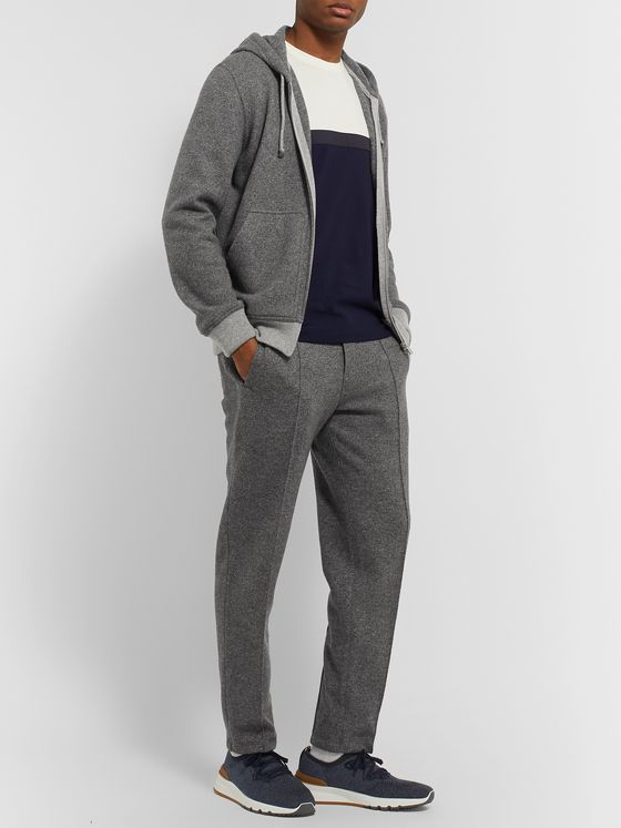Brunello Cucinelli Slim-Fit Mélange Cashmere and Wool-Blend Drawstring Sweatpants