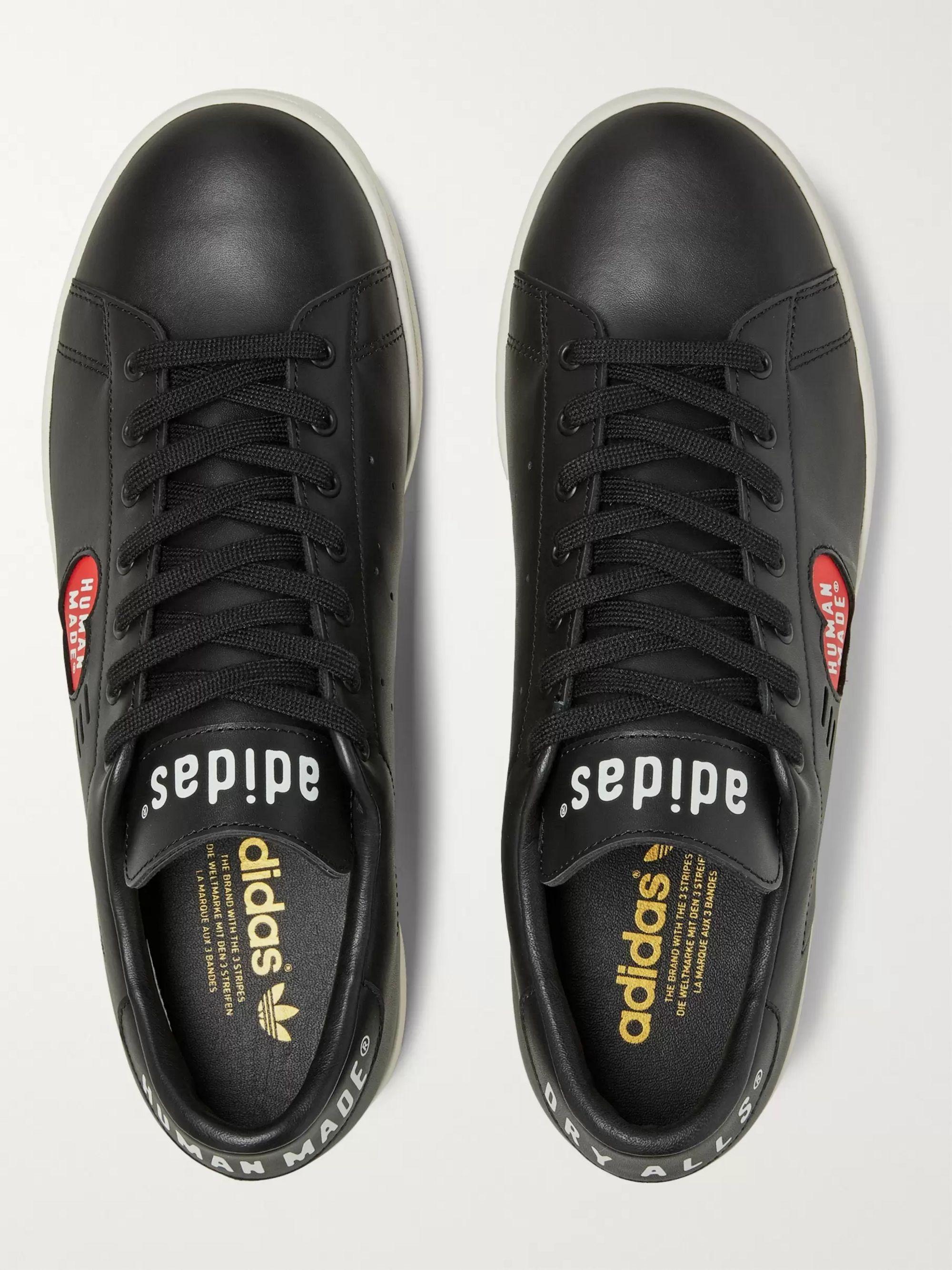 Black + Human Made Stan Smith Logo-print Leather Sneakers   Adidas Consortium