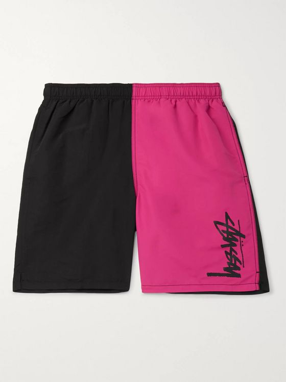 Stüssy Mid-Length Logo-Print Colour-Block Swim Shorts