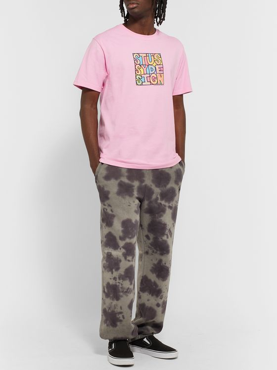 Stüssy Logo-Embroidered Tie-Dyed Fleece-Back Cotton-Jersey Sweatpants