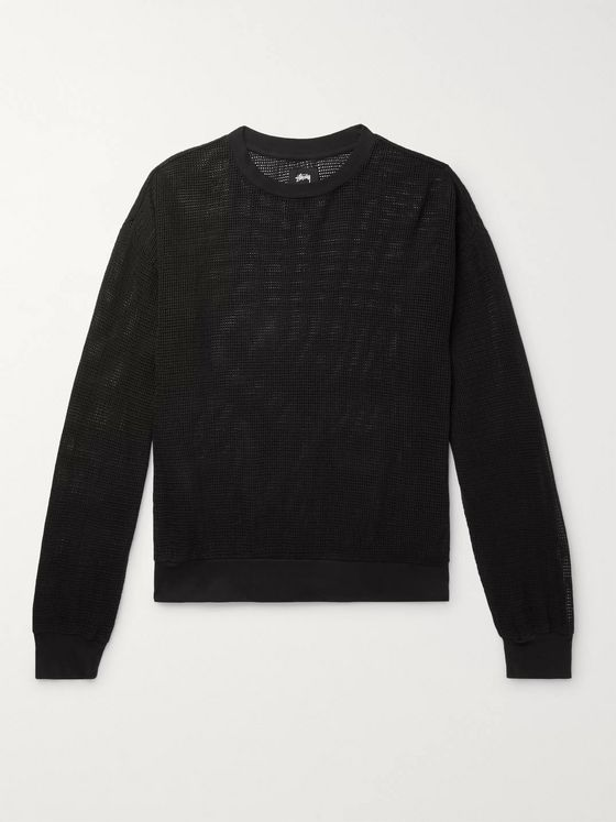 Stüssy Pigment-Dyed Cotton-Mesh Sweatshirt