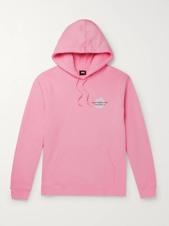 Stüssy Printed Fleece-Back Cotton-Blend Jersey Hoodie