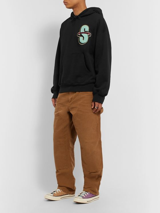 Stüssy Logo-Appliquéd Fleece-Back Cotton-Jersey Hoodie