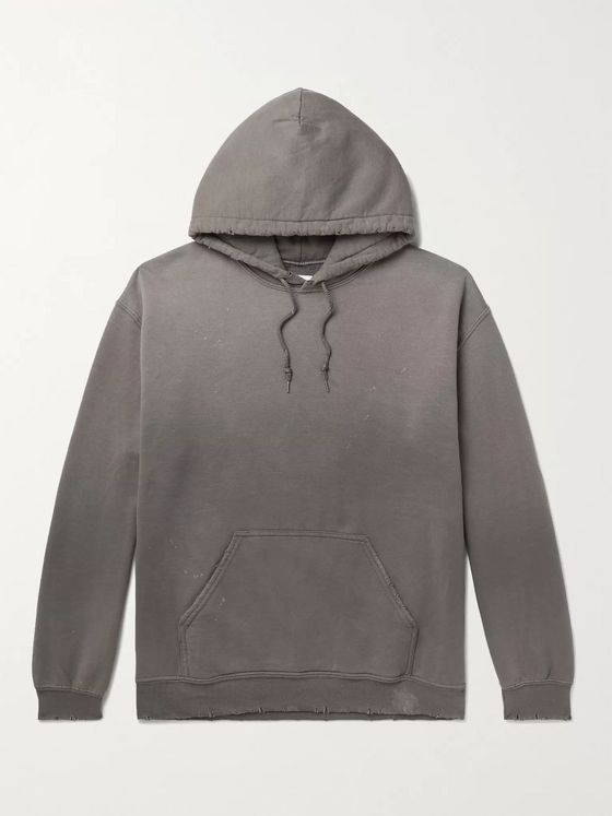 Sasquatchfabrix. Distressed Printed Fleece-Back Cotton-Blend Jersey Hoodie