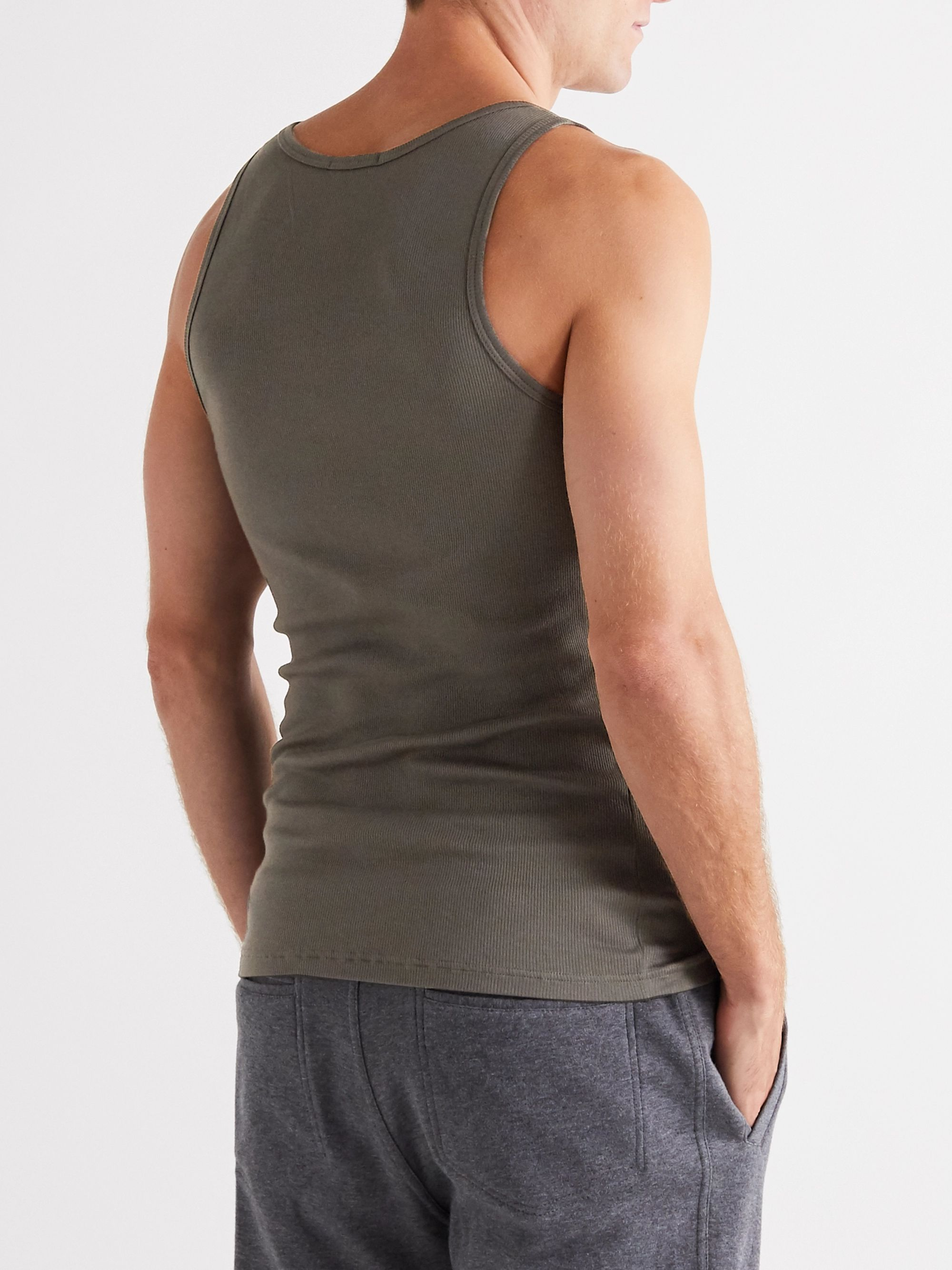 Army Green Ribbed Cotton And Modal-blend Tank Top | Tom Ford