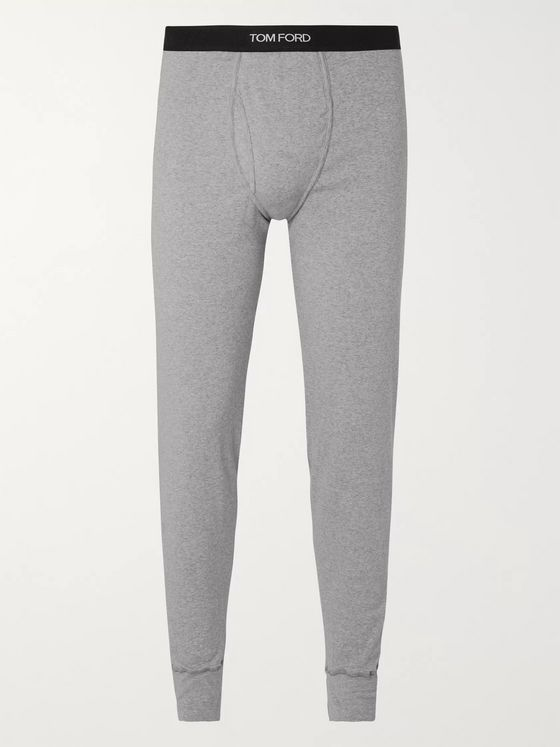 TOM FORD Slim-Fit Mélange Stretch-Cotton Jersey Long Johns
