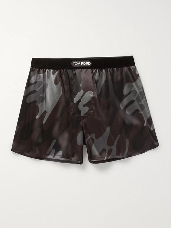 TOM FORD Camouflage-Print Stretch-Silk Boxer Shorts