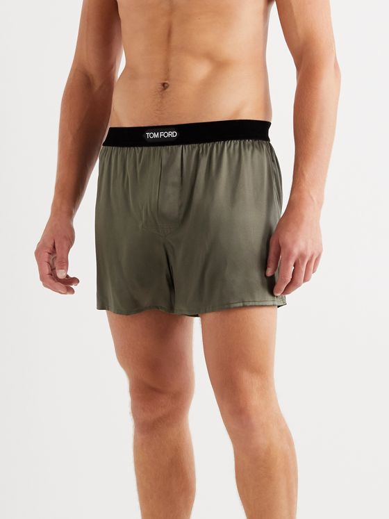 TOM FORD Velvet-Trimmed Stretch-Silk Boxer Shorts