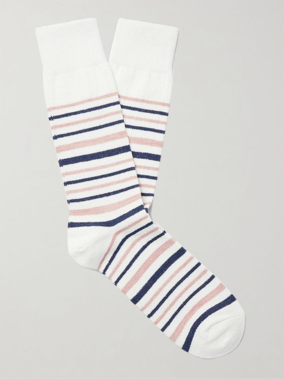 MR P. Striped Cotton-Blend Socks