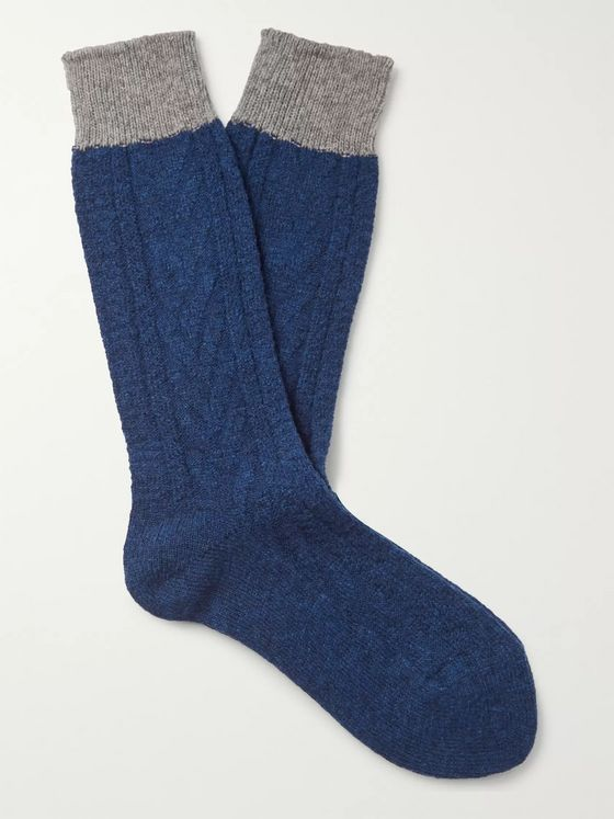 MR P. Colour-Block Ribbed Wool-Blend Socks