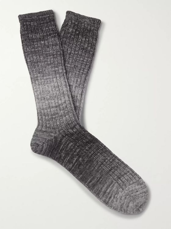 MR P. Ribbed Ombré Cotton-Blend Socks