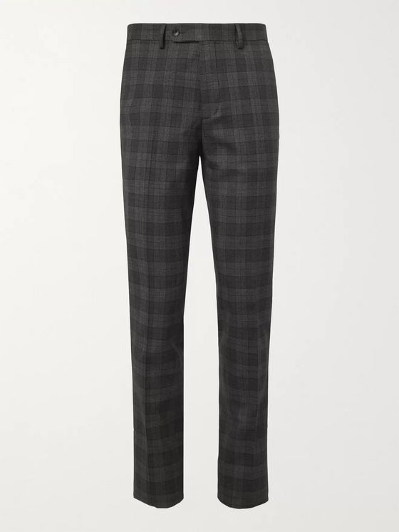 Mr P. Slim-Fit Checked Virgin Wool-Blend Trousers