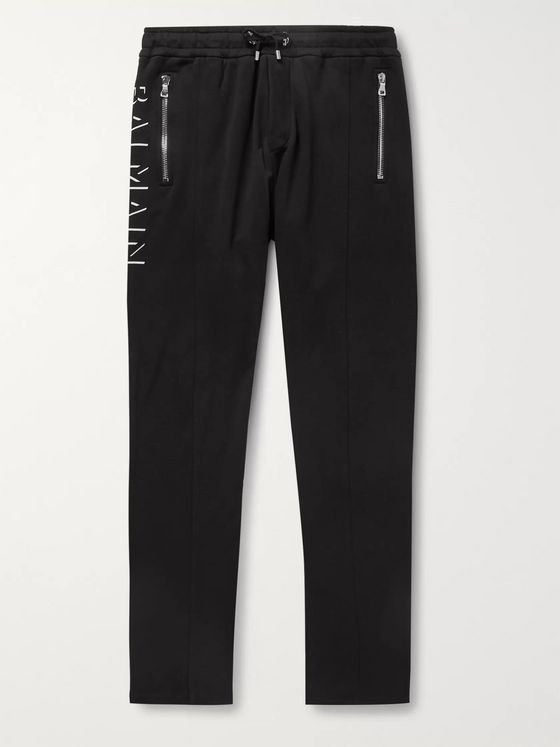Balmain Tapered Logo-Print Loopback Cotton-Jersey Sweatpants