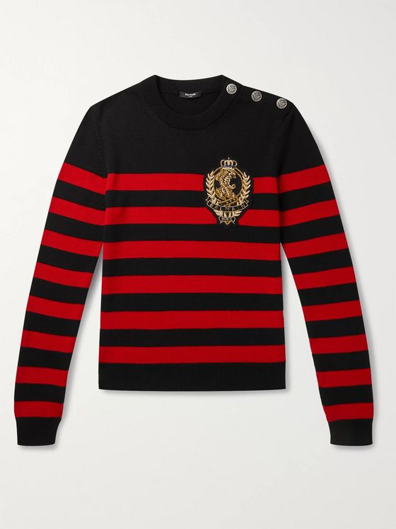 Balmain Logo-Appliquéd Button-Embellished Striped Wool and Cotton-Blend Sweater