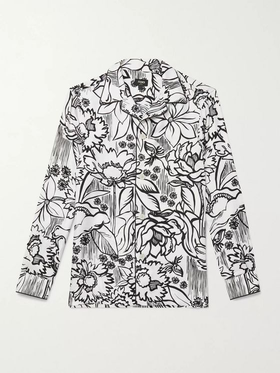 Fendi Camp-Collar Floral-Print Silk-Twill Shirt