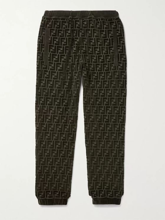 Fendi Tapered Logo-Jacquard Cotton-Blend Velour Sweatpants