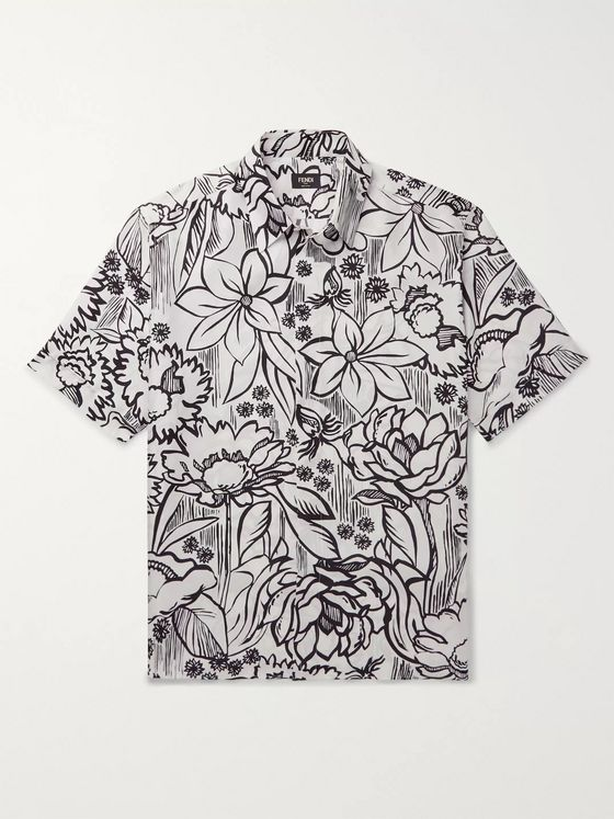 Fendi Floral-Print Silk-Twill Shirt