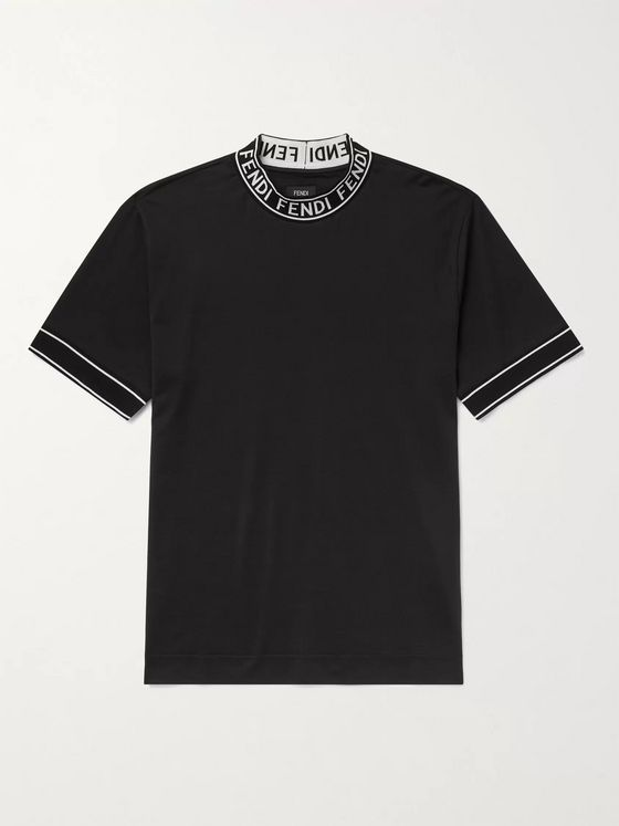 Fendi Logo-Jacquard Cotton-Jersey Mock-Neck T-Shirt