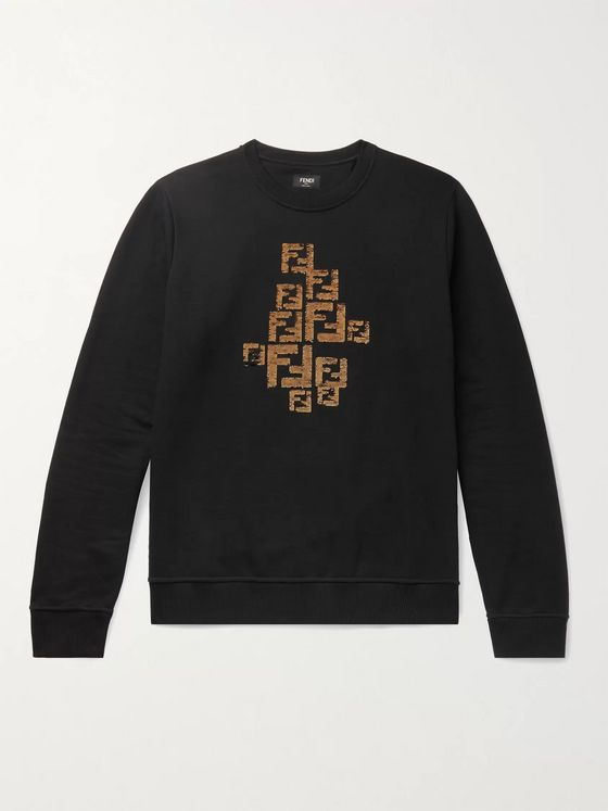 Fendi Logo-Embellished Fleece-Back Cotton-Jersey Sweatshirt