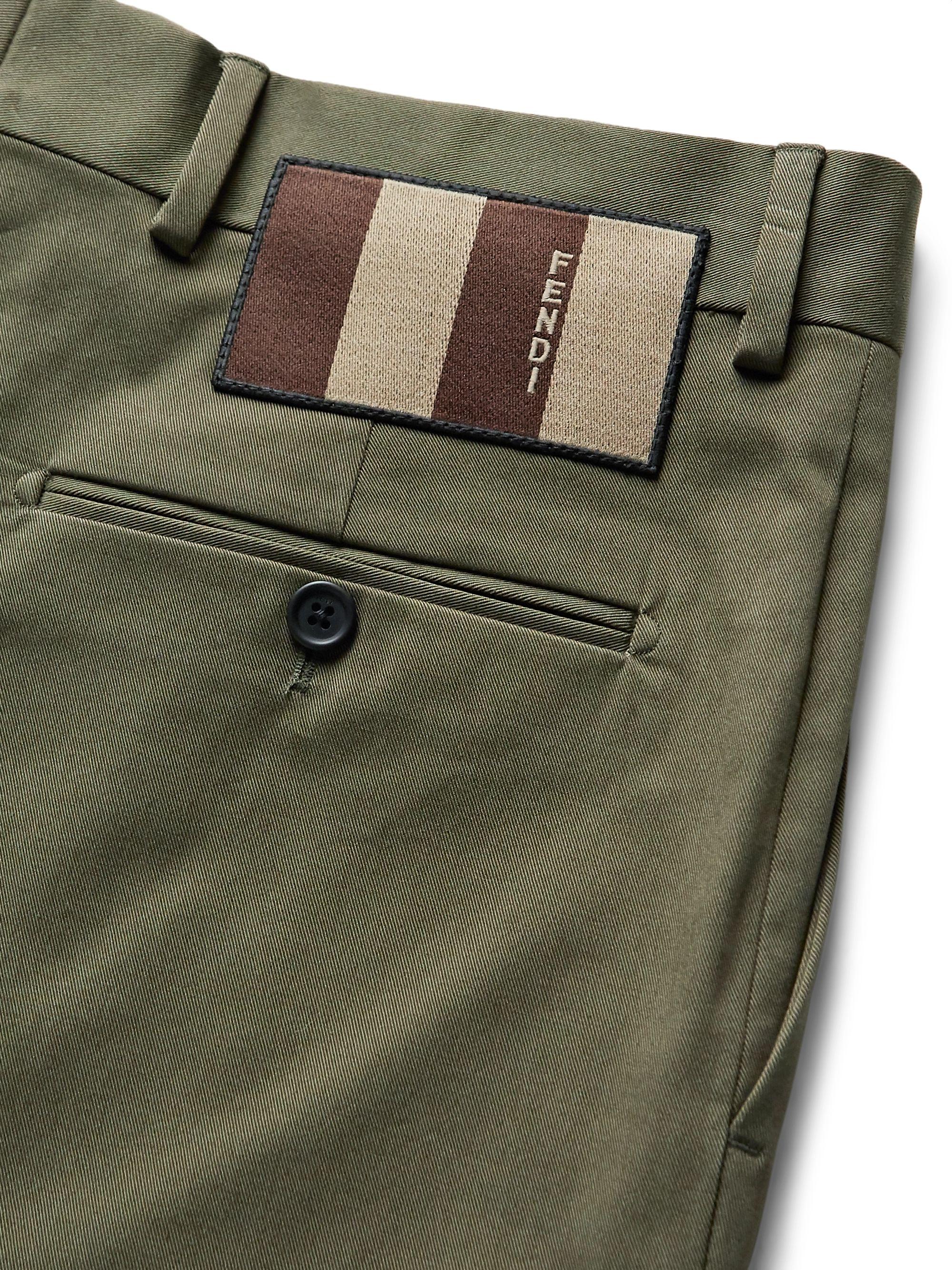 Army Green Stretch Cotton-twill Shorts | Fendi
