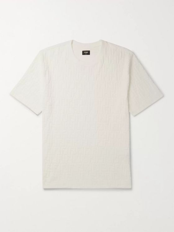Fendi Logo-Flocked Cotton-Blend Jersey T-Shirt