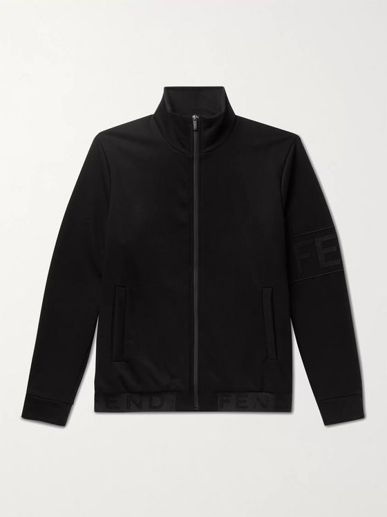 Fendi Logo-Appliquéd Cotton-Blend Jersey Track Jacket
