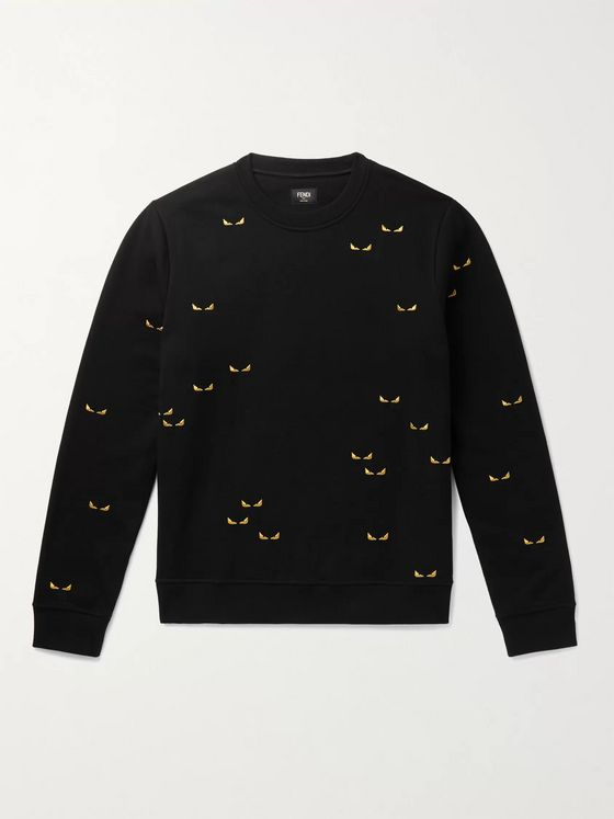Fendi Peekaboo Embroidered Cotton-Jersey Sweatshirt