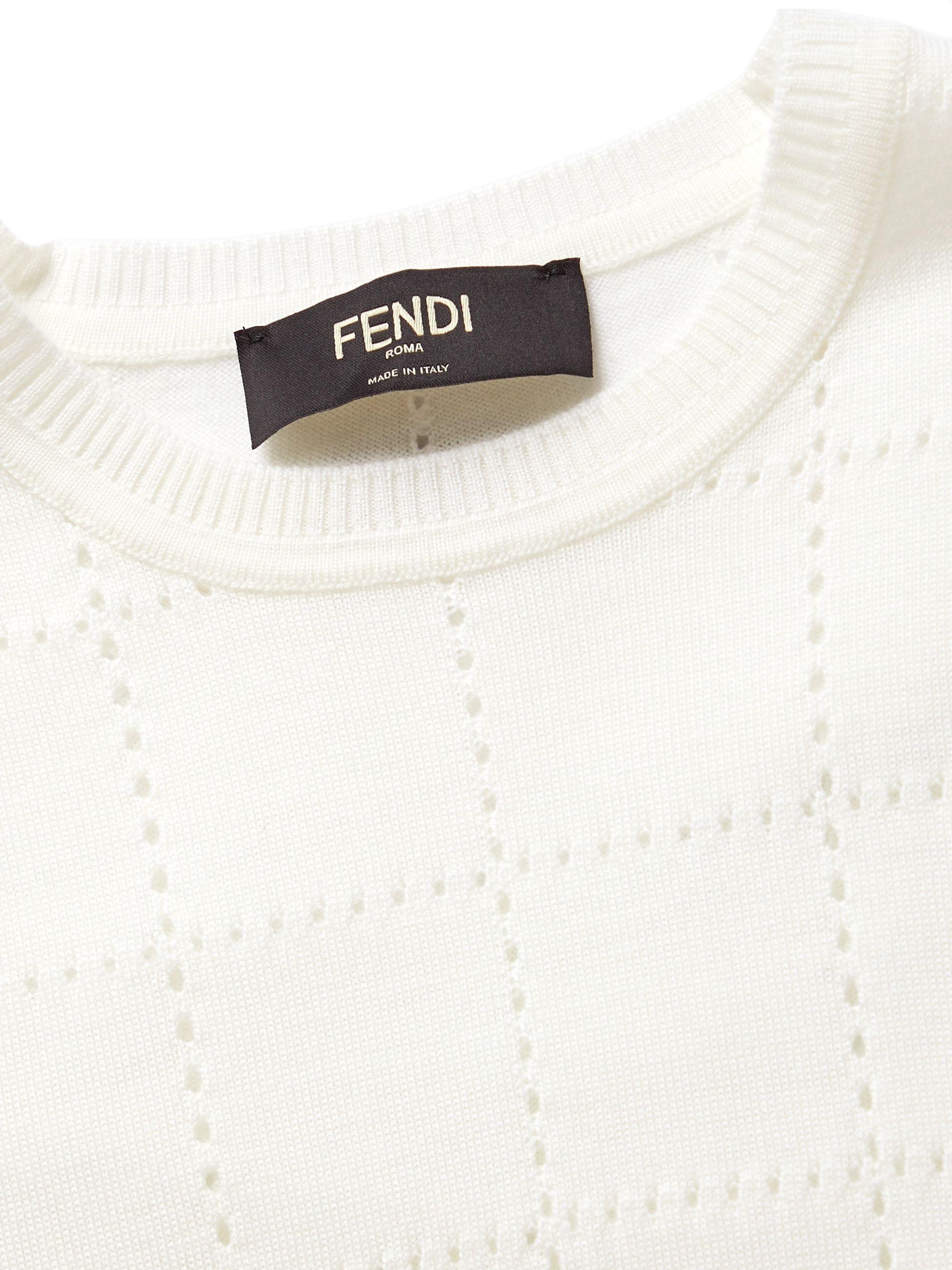 White Perforated Wool Sweater   Fendi