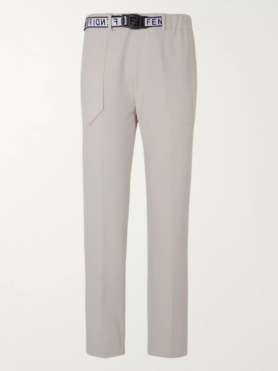 Fendi Webbing-Trimmed Wool-Blend Twill Trousers