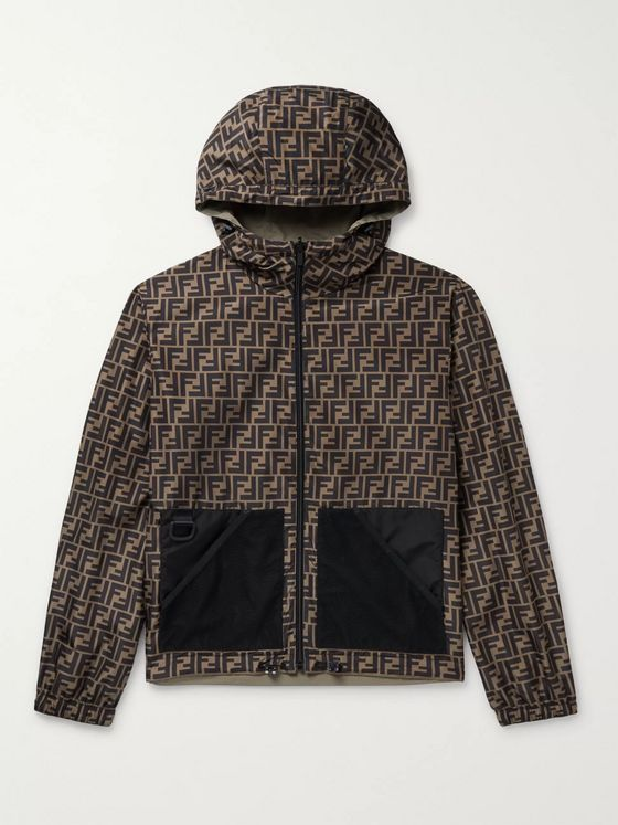 Fendi Reversible Hooded Logo-Print Shell Jacket