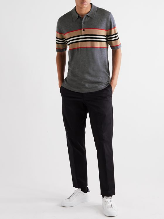 Burberry Striped Merino Wool Polo Shirt