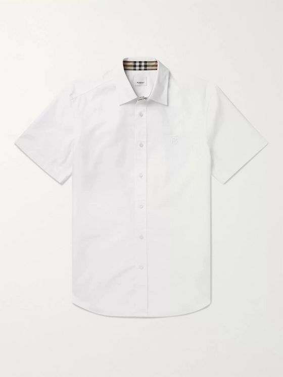 Burberry Logo-Embroidered Cotton Shirt
