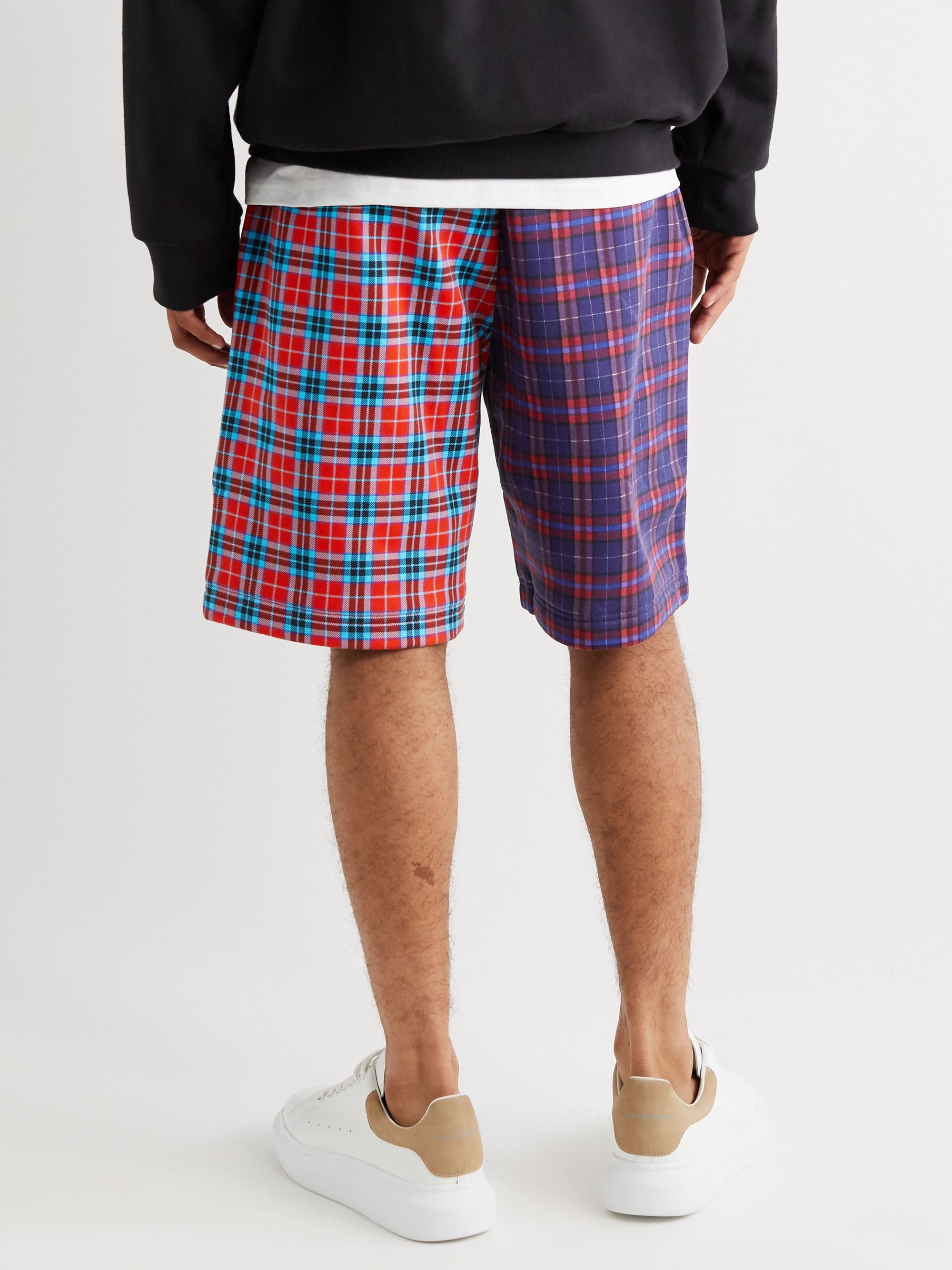 Burberry Wide-Leg Checked Cotton-Blend Jersey Drawstring Shorts
