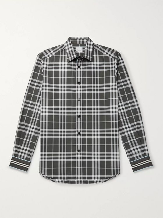 Burberry Webbing-Trimmed Checked Cotton-Poplin Shirt